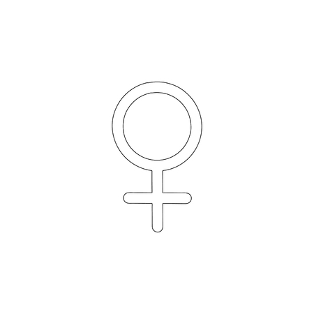 Female gender. simple flat vector icon illustration. outline line symbol - editable stroke