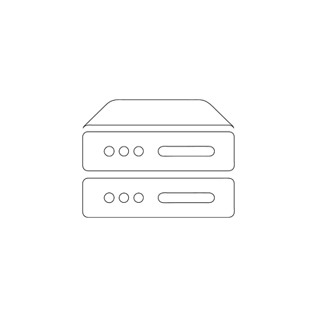 Computer Server. simple flat vector icon illustration. outline line symbol - editable stroke