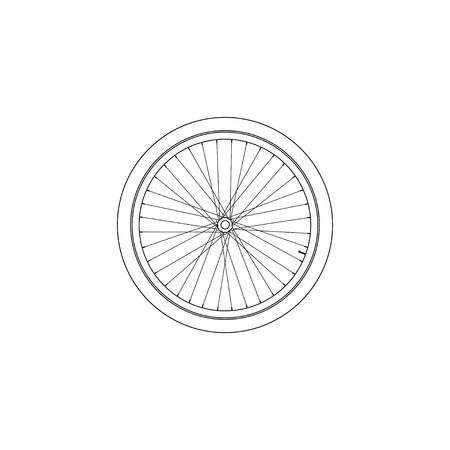 Bicycle Wheel. simple flat vector icon illustration. outline line symbol - editable stroke 스톡 콘텐츠 - 125659618