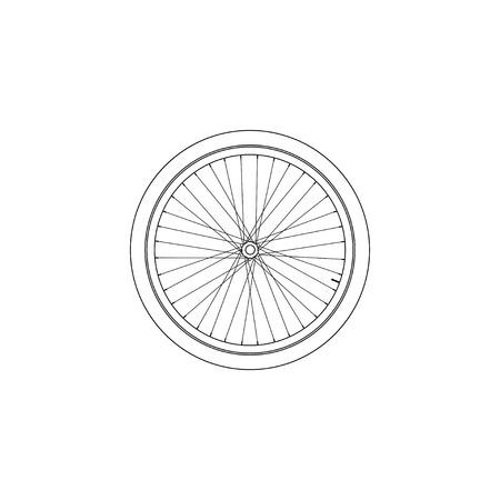 Fahrrad-Rad. einfache flache Vektorsymbolillustration. Umrissliniensymbol - bearbeitbarer Strich