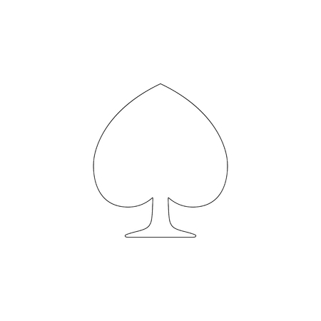 Spades Suit. simple flat vector icon illustration. outline line symbol - editable stroke