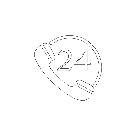 24 hour service. simple flat vector icon illustration. outline line symbol - editable stroke