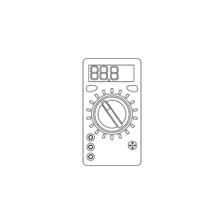 Voltmeter measurement voltage. simple flat vector icon illustration. outline line symbol - editable stroke Vector Illustration