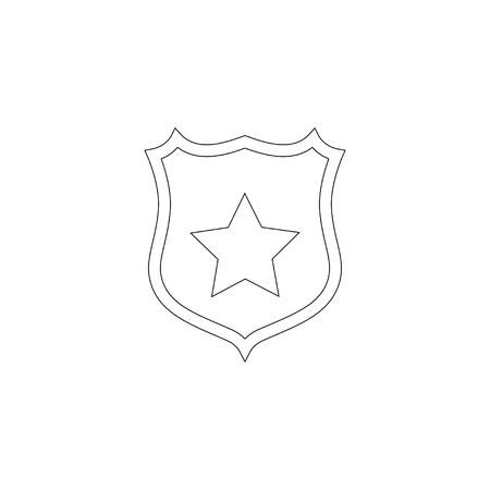 shield star. simple flat vector icon illustration. outline line symbol - editable stroke Illustration