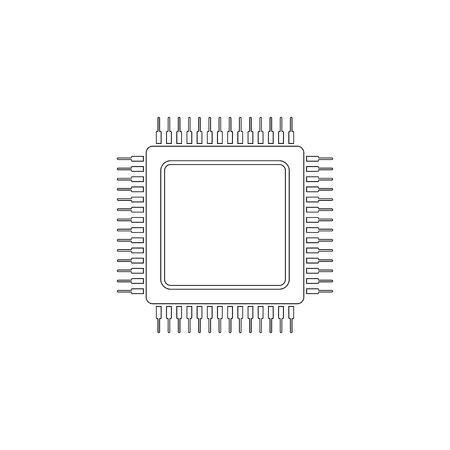Zentralprozessor. einfache flache Vektorsymbolillustration. Umrissliniensymbol - bearbeitbarer Strich Vektorgrafik