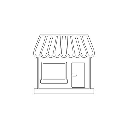Tienda. Ilustración de icono de vector plano simple. símbolo de línea de contorno - trazo editable