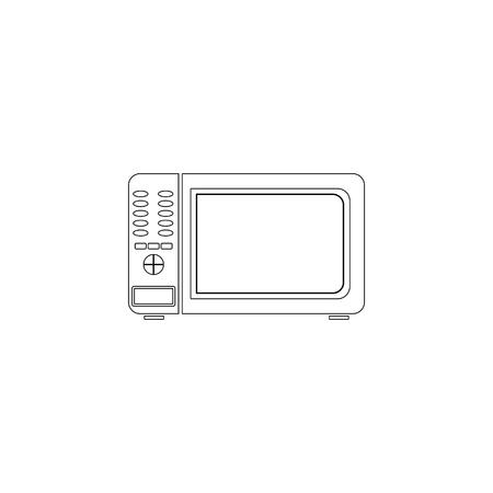 Microwave. simple flat vector icon illustration. outline line symbol - editable stroke