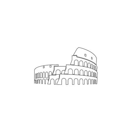 Kolosseum in Rom. einfache flache vektorikonenillustration. Umrissliniensymbol - bearbeitbarer Strich