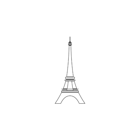 Eiffel tower in Paris. simple flat vector icon illustration. outline line symbol - editable stroke