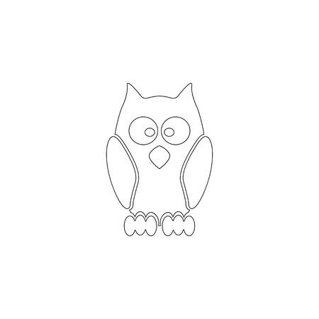 owl. simple flat vector icon illustration. outline line symbol - editable stroke