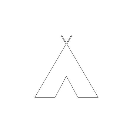 Indian tepee. simple flat vector icon illustration. outline line symbol - editable stroke