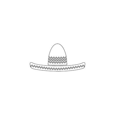 Sombrero Mexican hat. simple flat vector icon illustration. outline line symbol - editable stroke