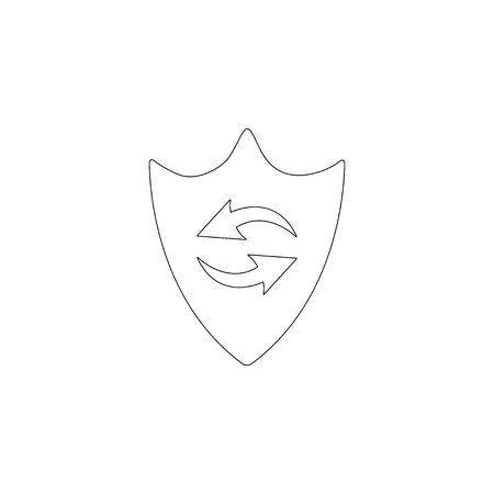 Shield renewal. simple flat vector icon illustration. outline line symbol - editable stroke