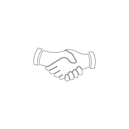 Handshake. Business shake hand, partnership. simple flat vector icon illustration. outline line symbol - editable stroke Çizim