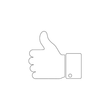 Hand Thumb Up. simple flat vector icon illustration. outline line symbol - editable stroke Ilustração