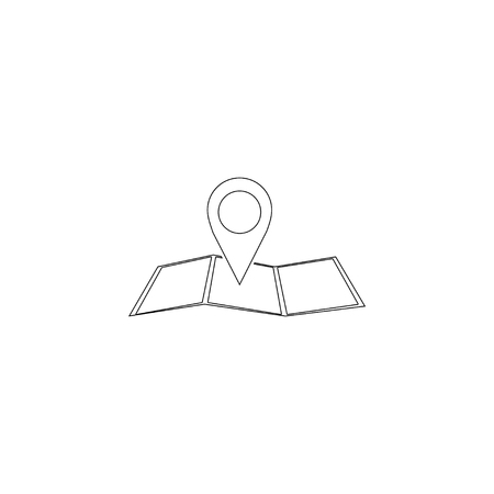 map pointer. simple flat vector icon illustration. outline line symbol - editable stroke