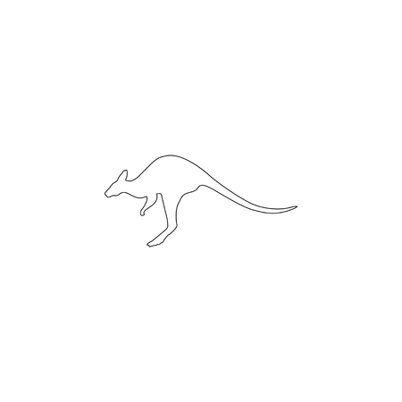 kangaroo. simple flat vector icon illustration. outline line symbol - editable stroke