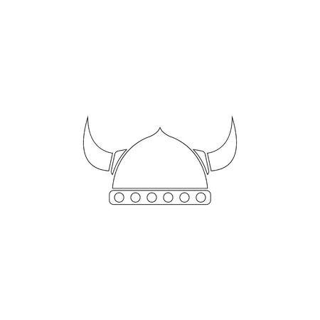 helmet with horn. simple flat vector icon illustration. outline line symbol - editable stroke
