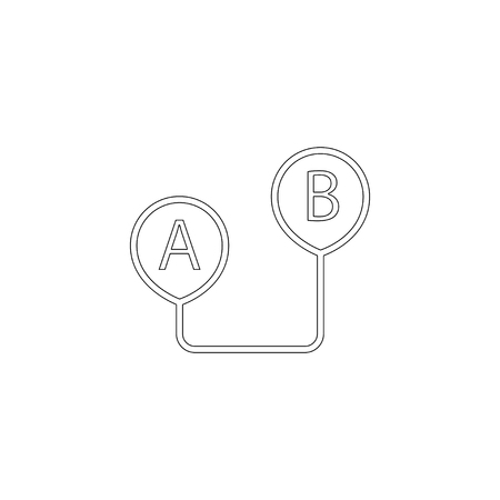 route from point A to point B. simple flat vector icon illustration. outline line symbol - editable stroke