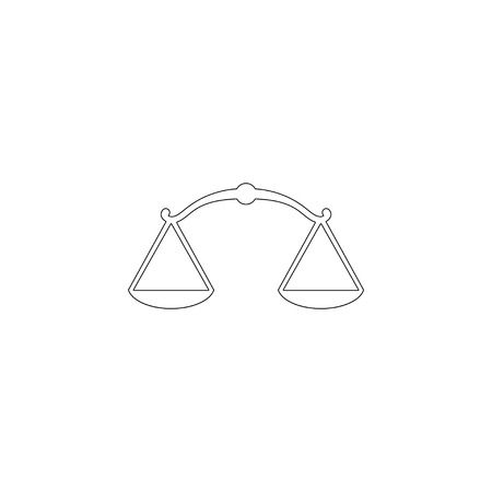 Scales of Justice. simple flat vector icon illustration. outline line symbol - editable stroke