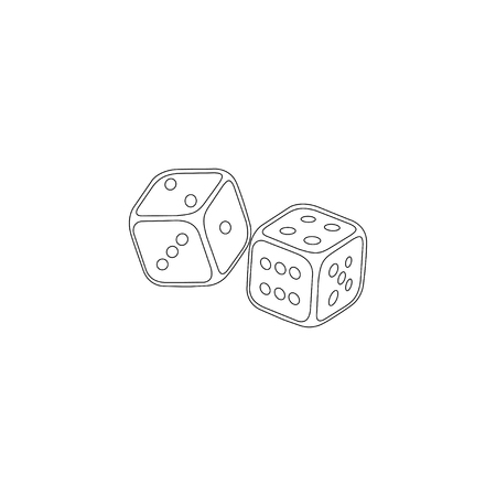 Dices. simple flat vector icon illustration. outline line symbol - editable stroke Çizim