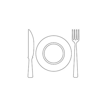 Food symbol. Restaurant plate, fork and spoon. simple flat vector icon illustration. outline line symbol - editable stroke  イラスト・ベクター素材