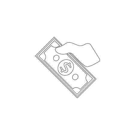 Money on Hand. simple flat vector icon illustration. outline line symbol - editable stroke