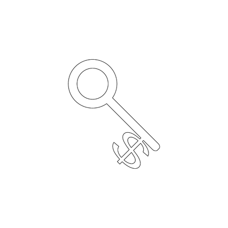Dollar Currency Key. simple flat vector icon illustration. outline line symbol - editable stroke