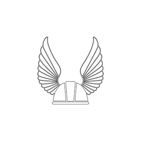 Winged racer helmet. simple flat vector icon illustration. outline line symbol - editable stroke