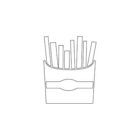 French fries. simple flat vector icon illustration. outline line symbol - editable stroke
