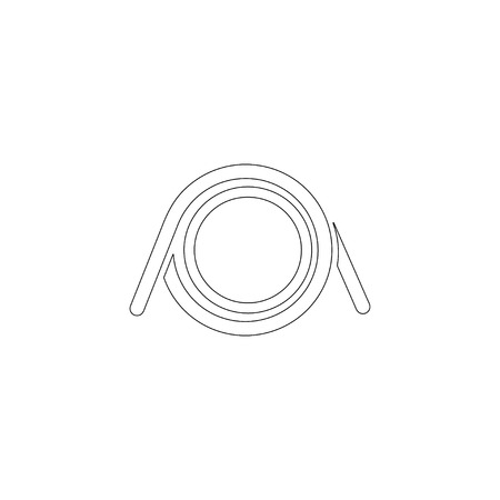 Spiralfeder. einfache flache Vektorsymbolillustration. Umrissliniensymbol - bearbeitbarer Strich
