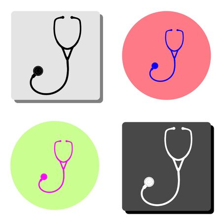 Stethoscope. simple flat vector icon illustration on four different color backgrounds