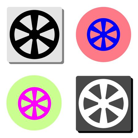 Western wooden wheel. simple flat vector icon illustration on four different color backgrounds