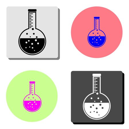 flask. simple flat vector icon illustration on four different color backgrounds