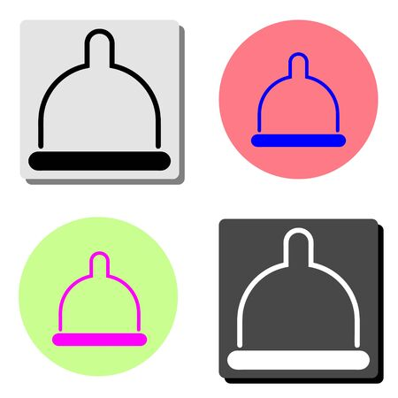 Condom. simple flat vector icon illustration on four different color backgrounds
