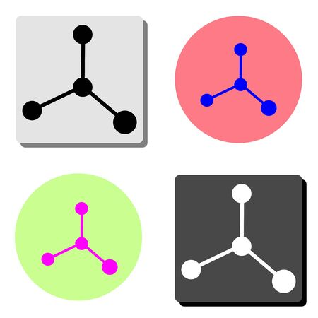 Molecule. simple flat vector icon illustration on four different color backgrounds