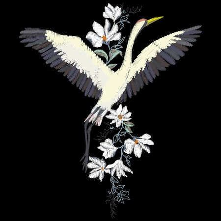 The crane embroidery