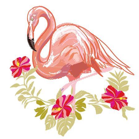 刺繍フラミンゴ