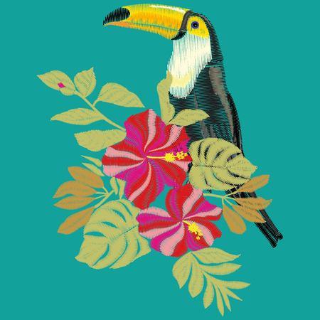 Toucan bird embroidery