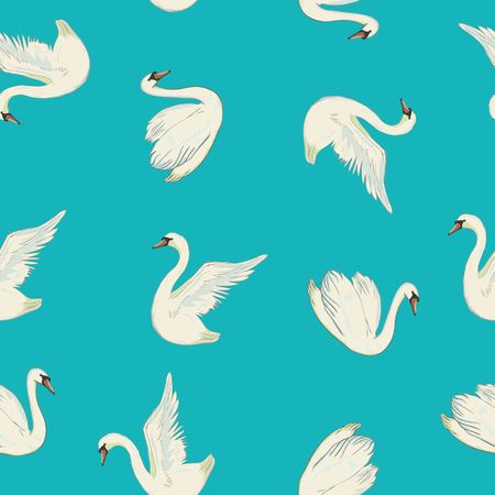 Pattern with white swans