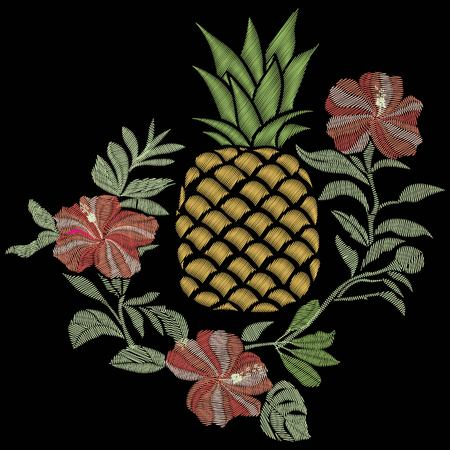 Pineapple embroidery Illustration