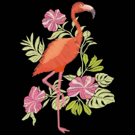 embroidery flamingo vector Stock Photo
