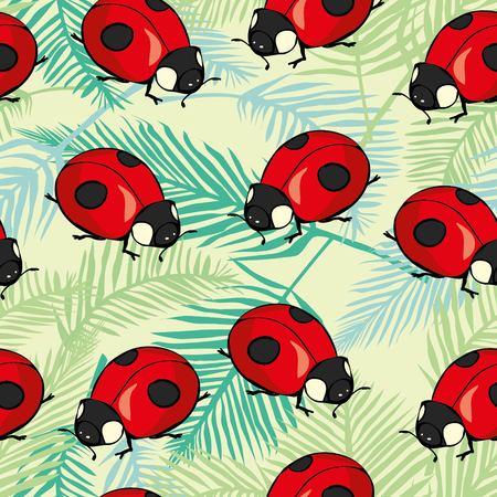 무당 벌레, 귀여운, 패턴, 벡터, 버그, 빨강, 동물, 예술, 배경, 만화, 장식, 디자인, 그리기, 요소, 그래픽, 일러스트, 곤충, 자연, 여름, 아가씨, 무당 벌 스톡 콘텐츠