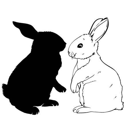 konijn silhouet - vector illustratie, konijn, dier, schattig Pasen afbeelding Stockfoto