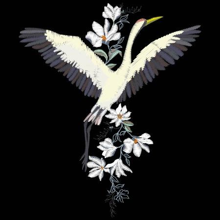 鶴刺繍、ベクトル図では、黒い鳥の設計