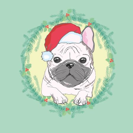 Tarjeta de felicitación de Navidad. Perro Pug con sombrero rojo de Santa