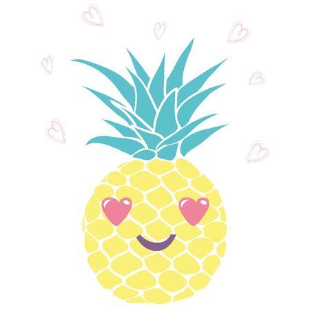 熱帯のメガネ、ベクトル、イラスト、デザイン、エキゾチックな食品、フルーツ、パイナップル