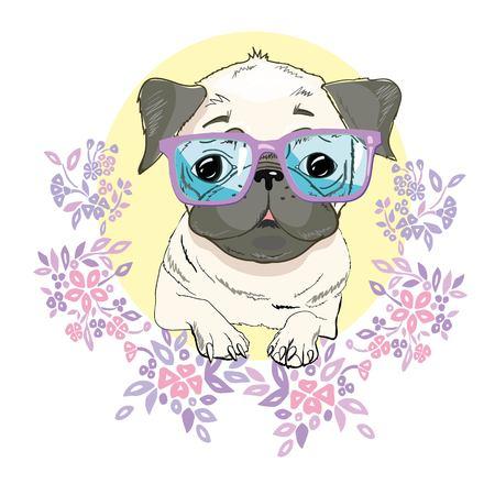 Mops Hund Gesicht - Vektor-Illustration isoliert auf weißem Hintergrund Standard-Bild - 90230403