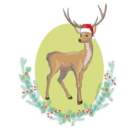 Vector image of an deer and santa hats on blue background. Merry christmas