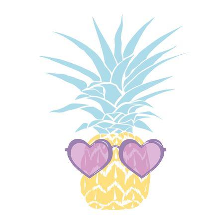 ananas met een bril tropisch, vector, illustratie, ontwerp, exotisch, voedsel, fruit, achtergrond, ontwerp, exotisch, voedsel, fruit, glazen, illustratie natuur ananas zomer tropische vector tekening verse gezonde geïsoleerde plant zoete witte dessert hawaï blad